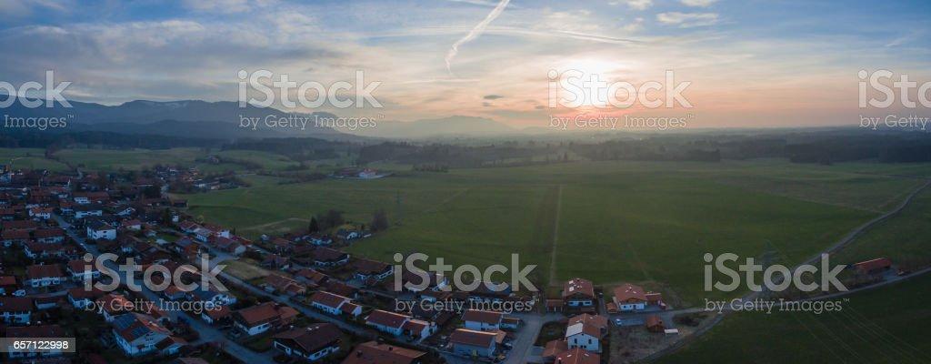 Panorama Bavarian Alps Waakirchen stock photo
