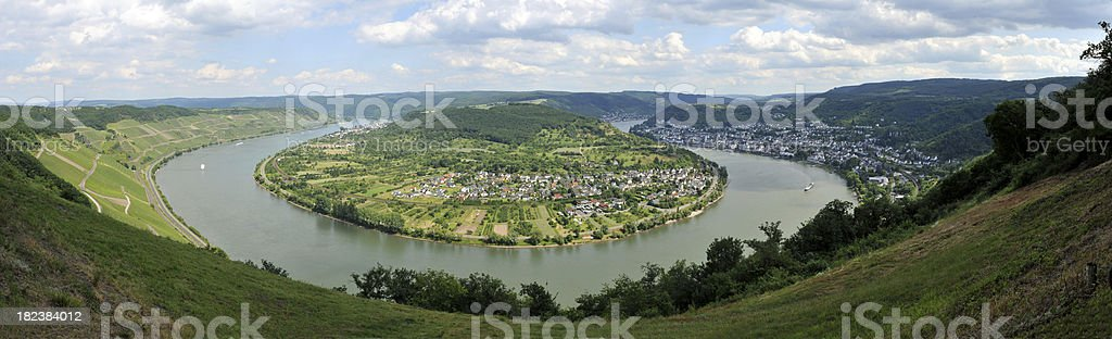 Panorama -  bend in the River Rhine at Boppard, Germany stock photo