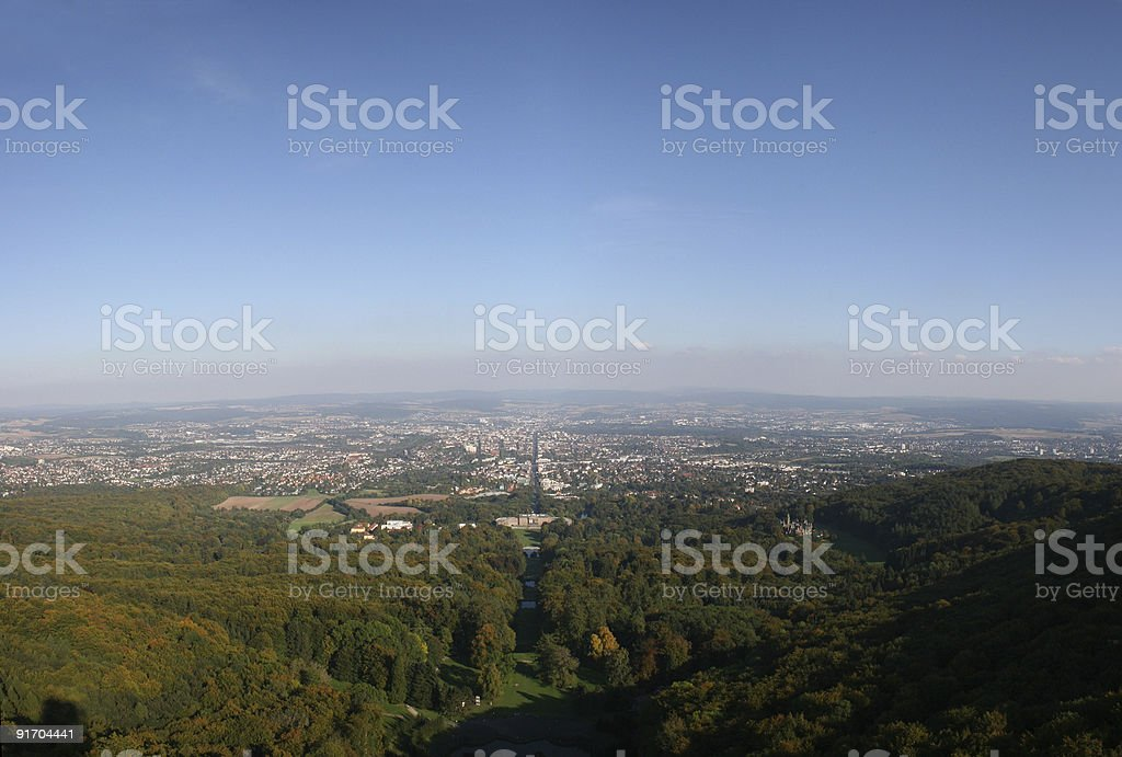 Panorama ?ber Kassel betrachtet vom Herkules im Bergpark Wilhelmsh?he royalty-free stock photo