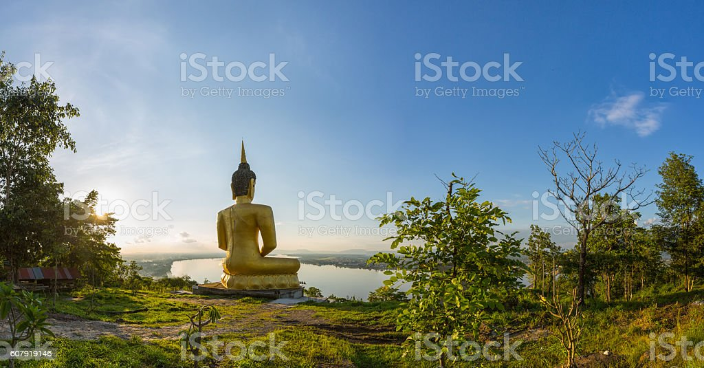 Panorama Big buddha statue in laos stock photo