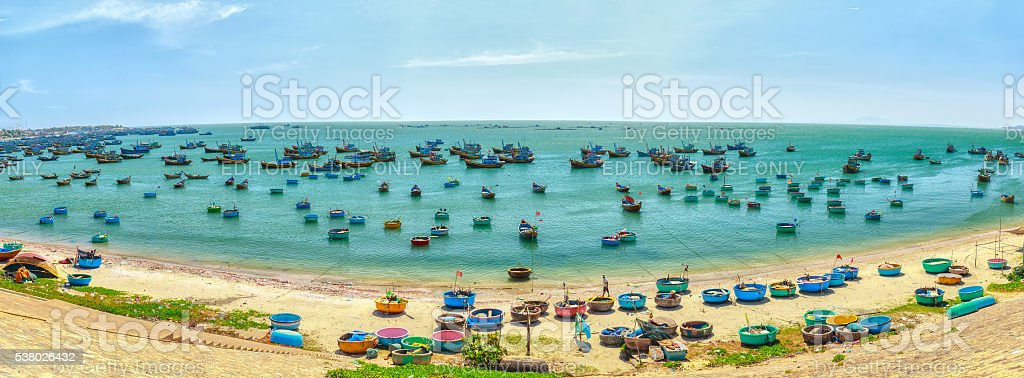 Panorama boating fishing village stock photo