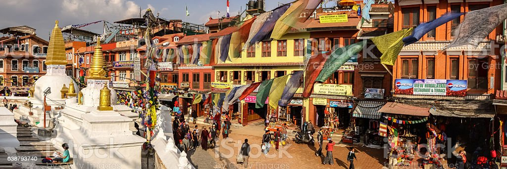 Panorama Bouddhanath Temple area, Kathmandu Valley, Nepal stock photo
