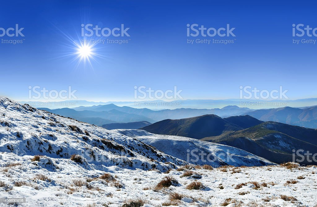 Panorama Carpathians mountains stock photo