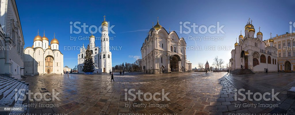 Panorama Cathedral Square with Christmas  tree, Inside of Moscow Kremlin stock photo