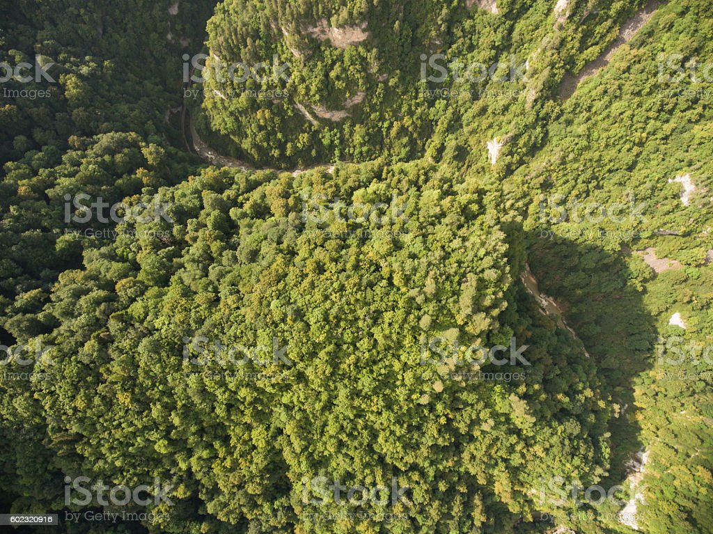 Panorama Caucasus Mountains. View from above. stock photo