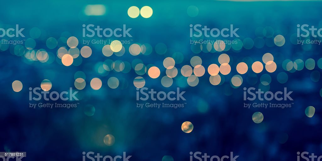 panorama city blurring lights abstract circular bokeh stock photo