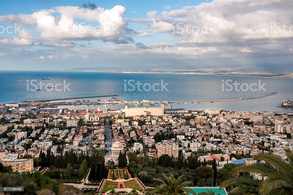 Panorama city Haifa. Israel. stock photo