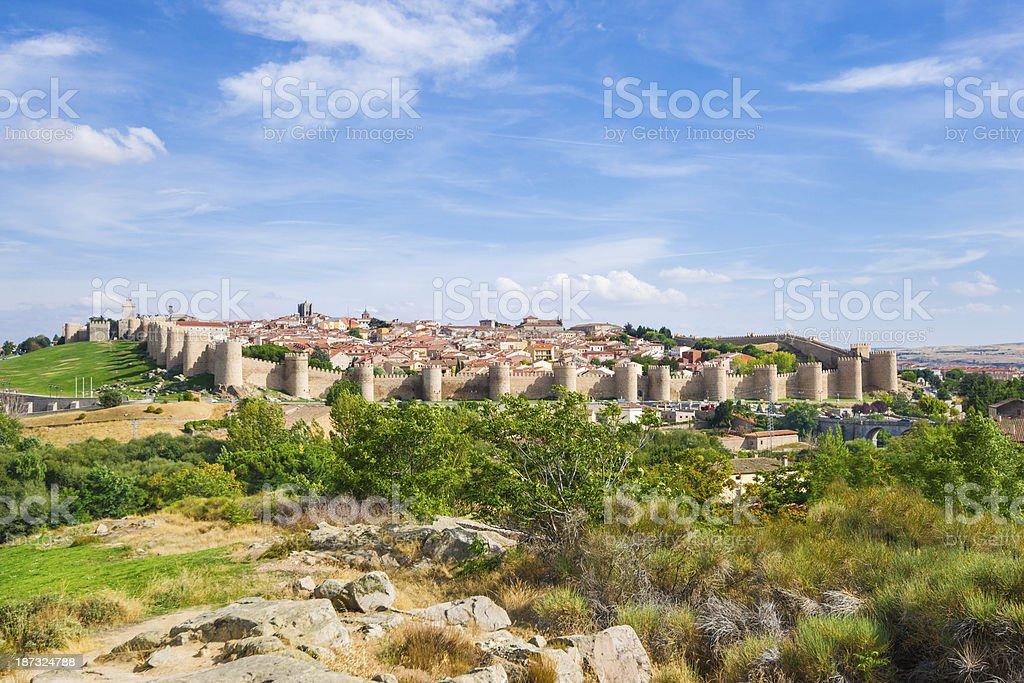 Panorama City Walls of Ávila in Spain stock photo