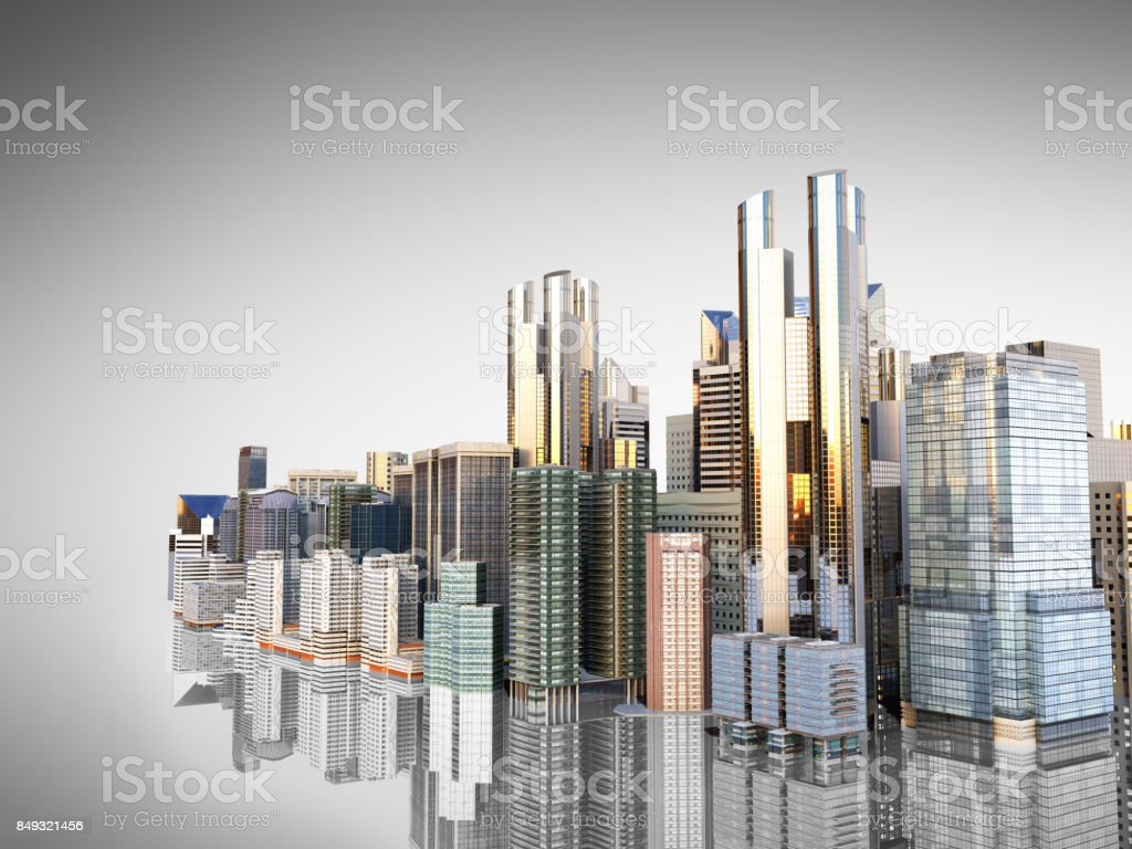 panorama cityscape modern high-rise buildings panorama of the central part of the city 3d rendering on white stock photo