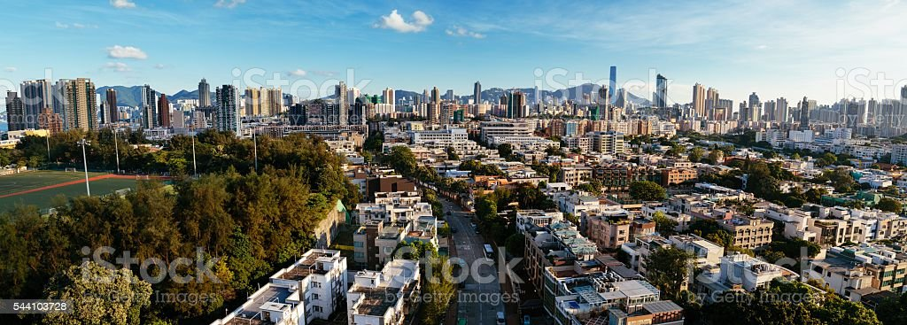 Panorama Cityscape of Kowloon Tong, Hong Kong stock photo