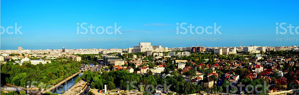 Panorama Cityscape on Bucharest stock photo