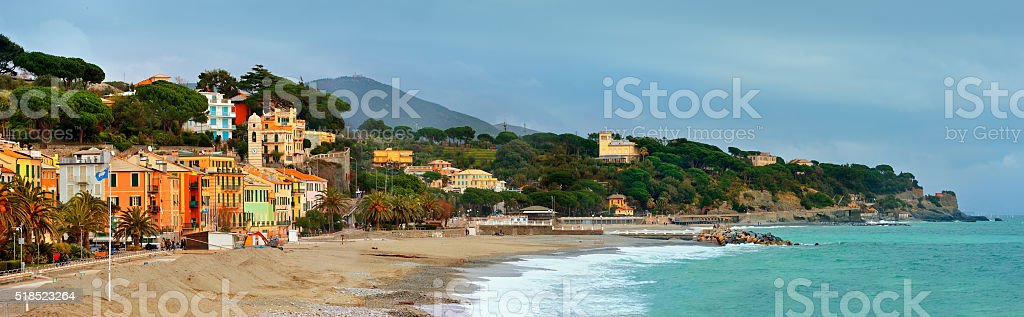 panorama coast of Celle Ligure, Italy stock photo