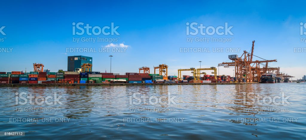 Panorama Crowded Containers Cargo stock photo