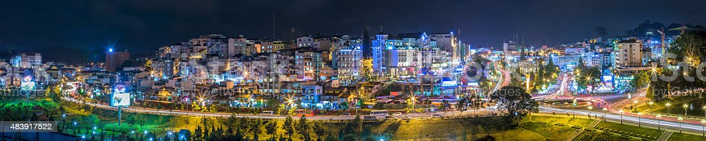 Panorama Da Lat night stock photo