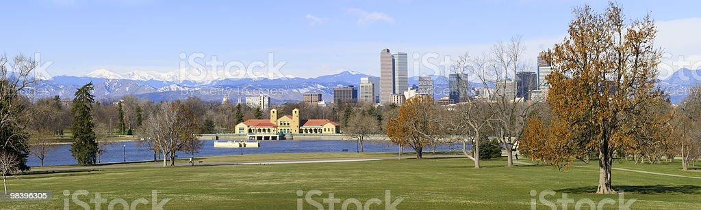 Panorama Denver Skyline April 2010 stock photo