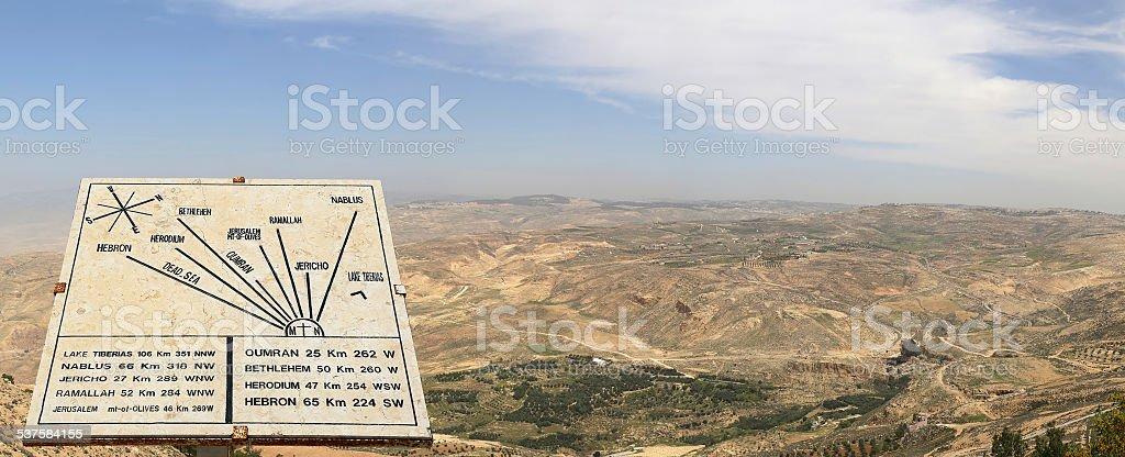 Panorama desert mountain landscape, Jordan stock photo