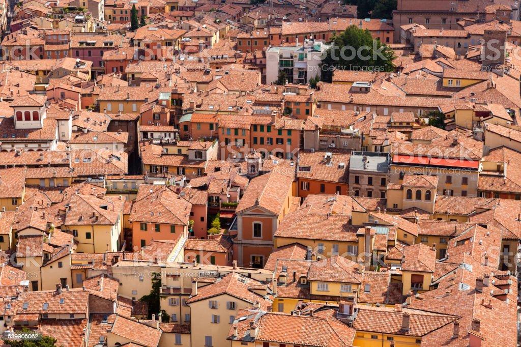 Panorama di Bologna dalla Torre degli Asinelli stock photo