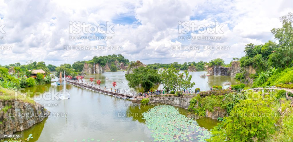Panorama ecotourism area with a bridge over peninsula in large lake stock photo
