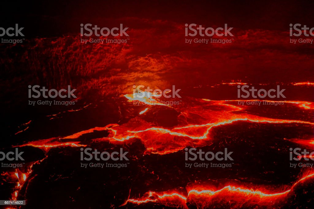 Panorama Erta Ale volcano crater, melting lava, Danakil depression, Ethiopia stock photo