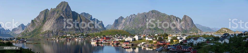 panorama fishing village Reine in Norway,Lofoten stock photo
