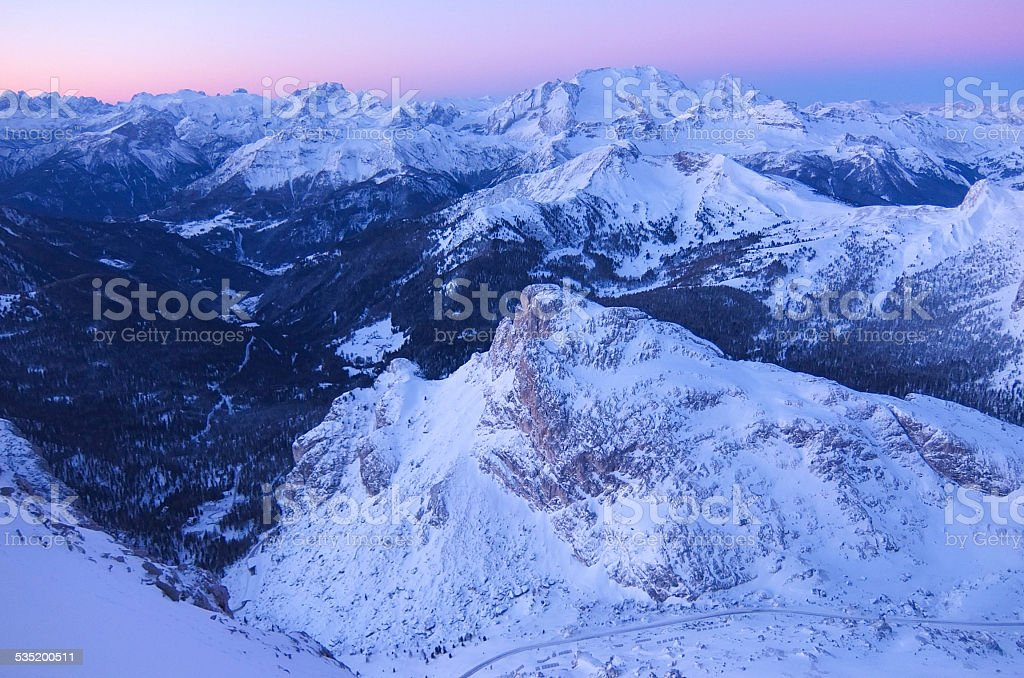 Panorama from 2.800 meters height at the Lagazuoi stock photo