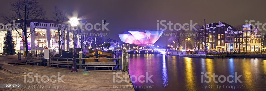 Panorama from Amsterdam by night in the Netherlands royalty-free stock photo