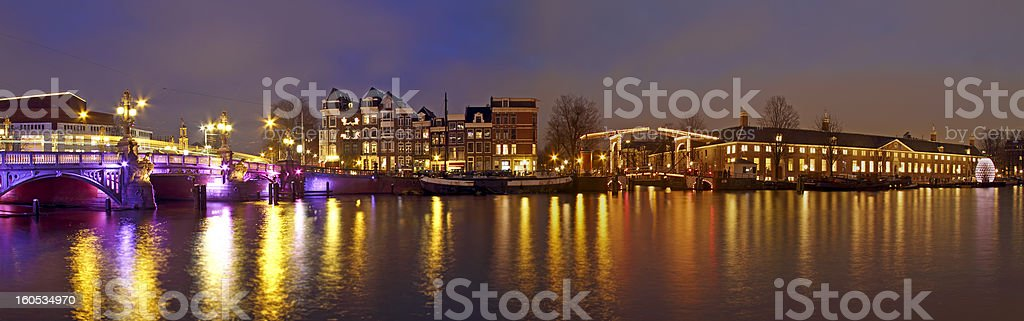 Panorama from Amsterdam innercity in Netherl royalty-free stock photo