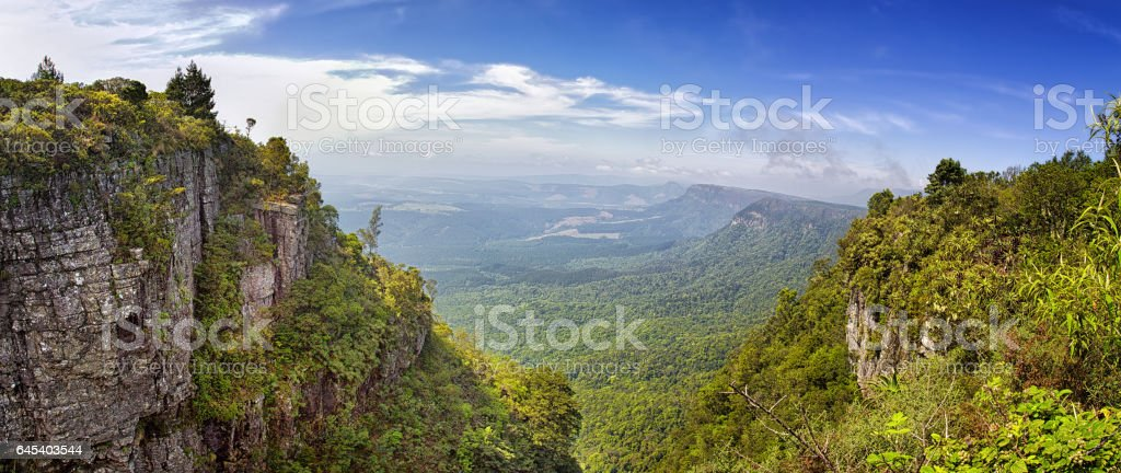Panorama from God's Window  along the Blyde River Canyon stock photo