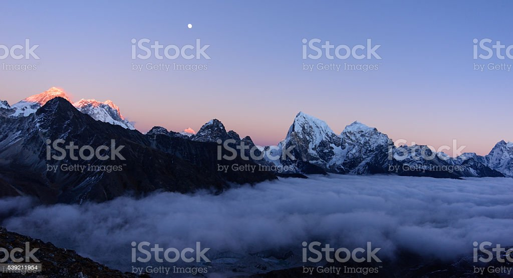 Panorama from Gokyo Ri with Mount Everest stock photo