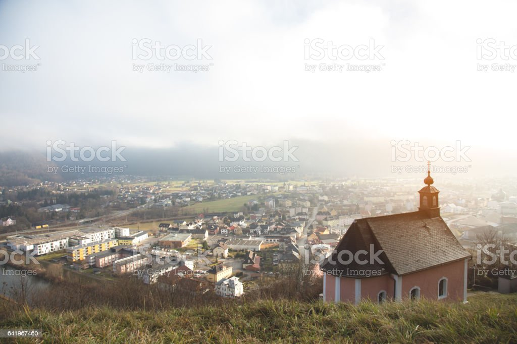 Panorama from hill with a church stock photo