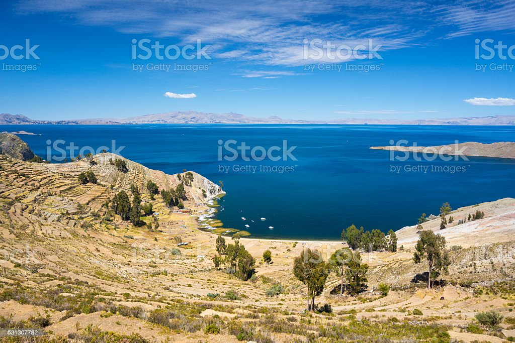 Panorama from Island of the Sun, Titicaca Lake, Bolivia stock photo