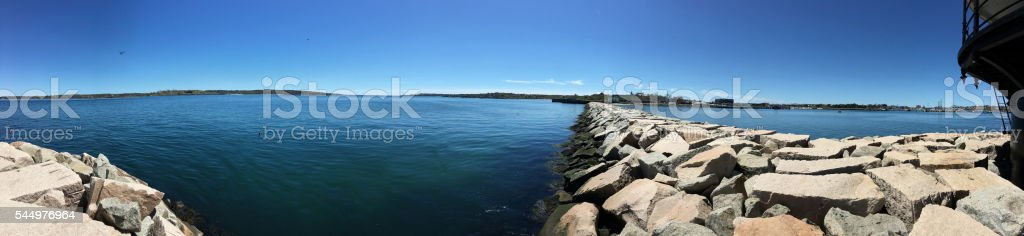 Panorama from lighthouse facing shore stock photo