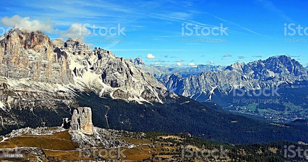 panorama from Nuvolau peak in autumn Dolomites mountains stock photo