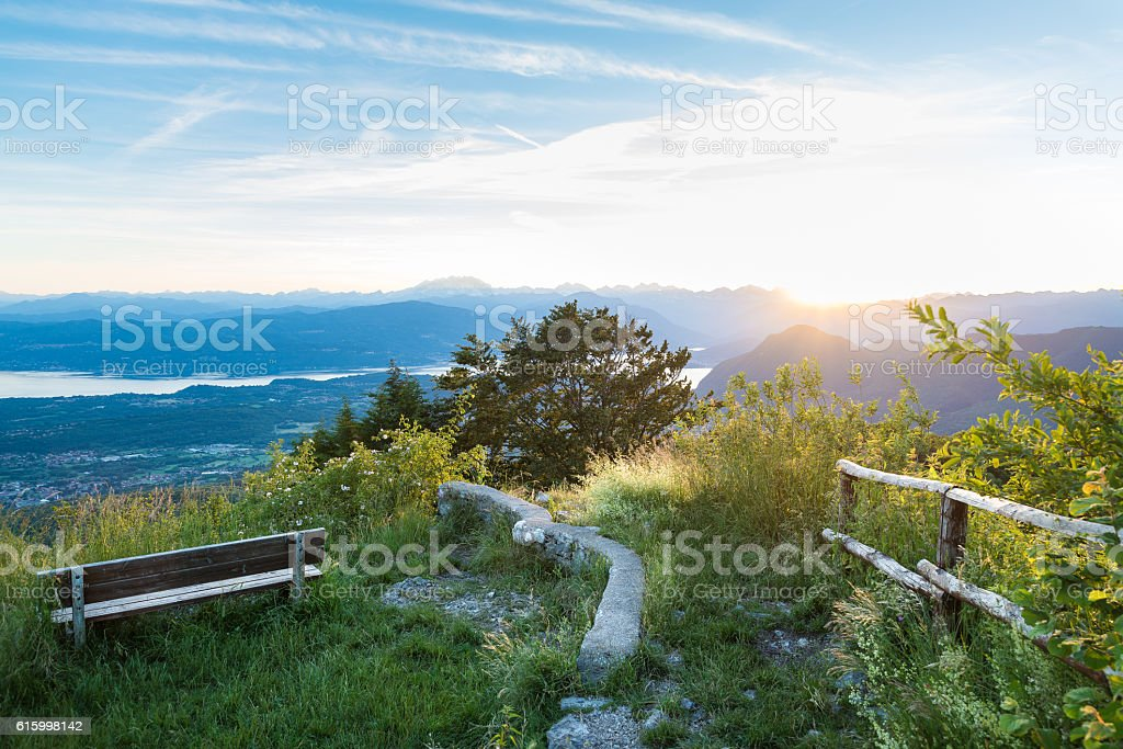 Panorama from Park Campo dei Fiori of Varese, Italy stock photo