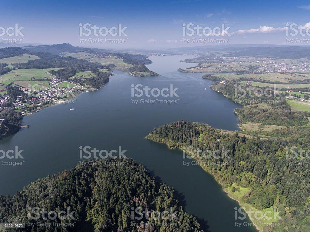 Panorama from Pieniny to Czorsztyn Lake and Tatra Mountains stock photo