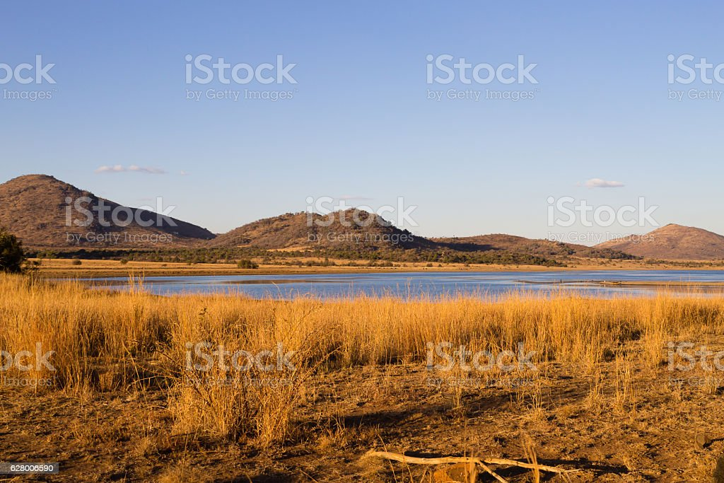 Panorama from Pilanesberg National Park, South Africa stock photo