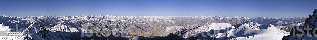 Panorama from Stok Kangri stock photo