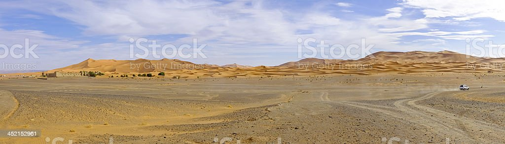 Panorama from the Erg Chebbi desert in Morocco Africa stock photo