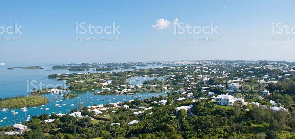 panorama from the Gibbs lighthouse in Bermuda stock photo