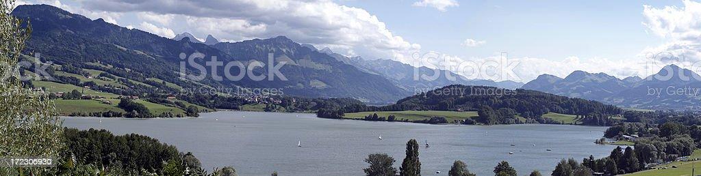 Panorama from the Lake of Gruyere stock photo