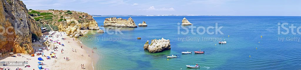 Panorama from the natural rocks and beaches at Lagos Portugal stock photo