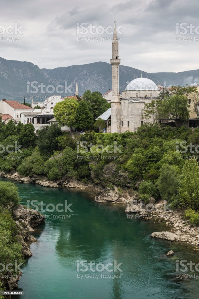 Panorama from The Old Bridge in Mostar in a beautiful summer day, Bosnia and Herzegovina. stock photo