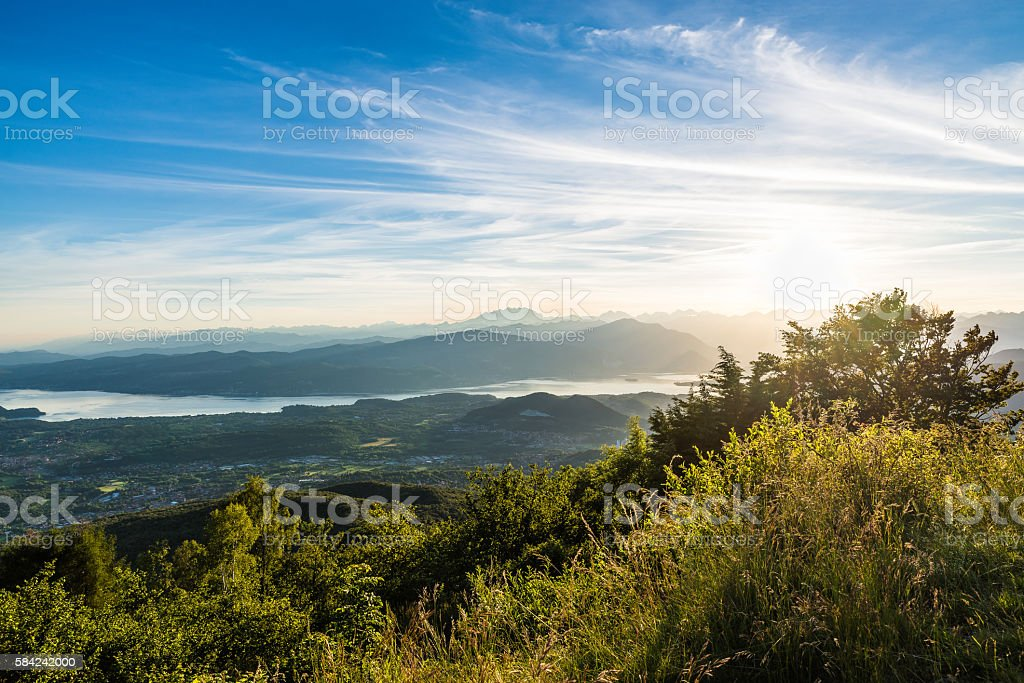 Panorama from the Regional Park Campo dei Fiori of Varese stock photo