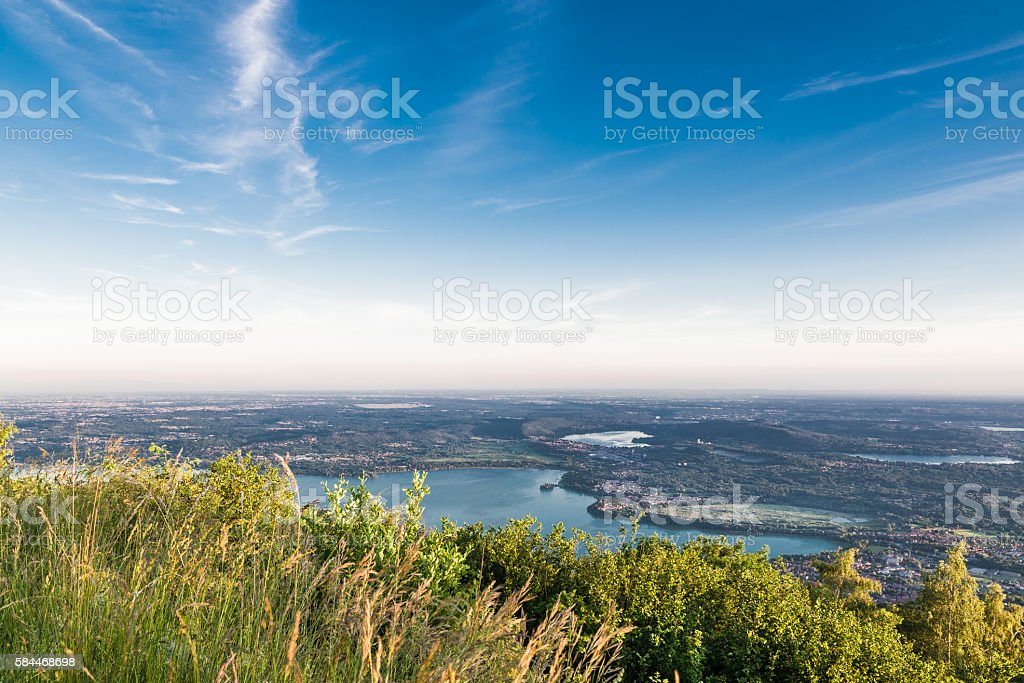 Panorama from the Regional Park Campo dei Fiori of Varese stock photo