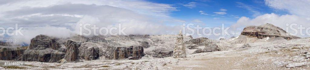 Panorama from the summit of Sass Pordoi. Dolomites. Italy. stock photo