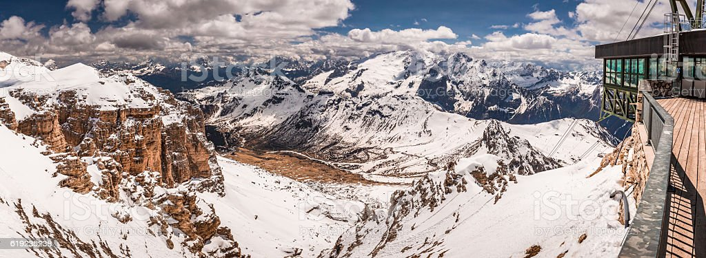 Panorama from the summit of Sass Pordoi in the Dolomites stock photo