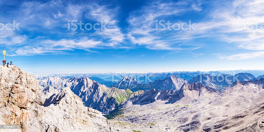 Panorama from Zugspitze stock photo