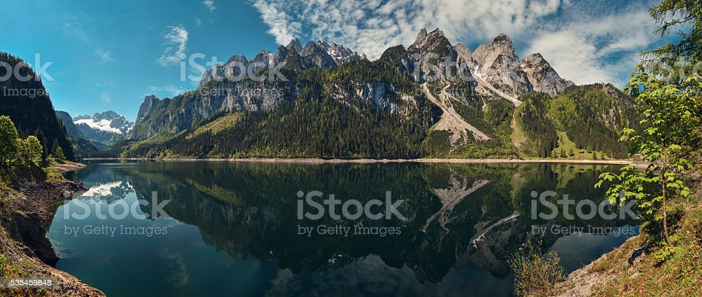 Panorama gosausee with dachstein view stock photo