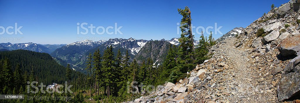 Panorama - gravel trail in Cascade mountains stock photo