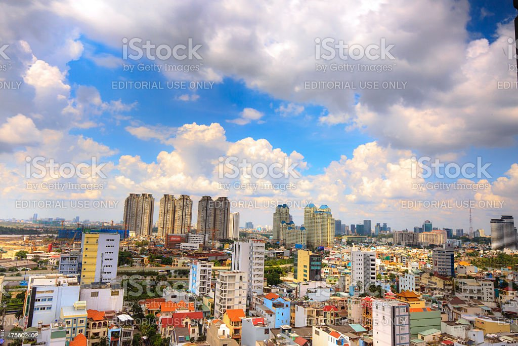 Panorama Ho Chi Minh City from Above stock photo